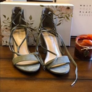 Olive green faux suede ankle wrap and tie sandal 8